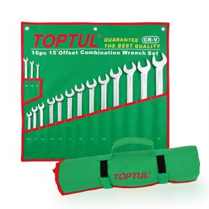 15° Offset Long Combination Wrench Set - POUCH BAG - GREEN - SAE(Satin Chrome Finished)