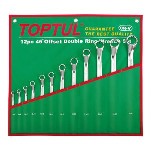 45° Offset Double Ring Wrench Set - POUCH BAG - GREEN (Satin Chrome Finished)