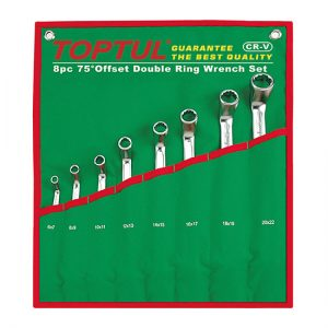 75° Offset Double Ring Wrench Set - POUCH BAG - GREEN (Satin Chrome Finished)
