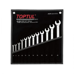 15° Offset Long Combination Wrench Set - POUCH BAG - BLACK (Satin Chrome Finished)