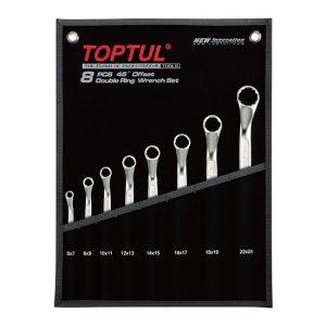 45° Offset Double Ring Wrench Set - POUCH BAG - BLACK (Mirror / Satin Chrome Finished)