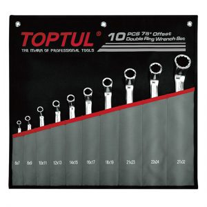 75° Offset Double Ring Wrench Set - POUCH BAG - BLACK